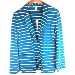 JOAN VASS stripe jacket button pockets L